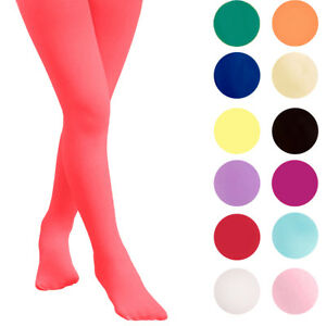 KIDS FASHION Girls PLAIN Semi-Opaque Tights 40 Denier Various Colors Years 06-14