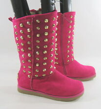 new pink Gold spikes round toe sexy  winter mid-calf sexy boots Size  10