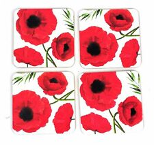 4 X HOME IS WHERE LOVE réside Vintage Fleur Cork Tasse Coaster NAPPERONS Rouge
