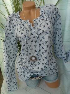 Cheer Bluse Damen Shirt Gr. 34 bis 42 weiß blau gemustert NEU (605)