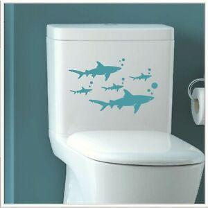 Shark Bathroom Stickers Boys Bedroom Wall Transfers Toilet Art Decal Childs Room