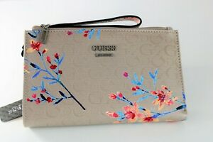 NWT GUESS Radko SLG Floral Taupe Wristlet Bifold Wallet Clutch Signature G logo