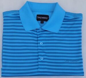 """New (no tags) Mens STROMBERG Golf Shirt 2 Tone Blue 100% Polyester L 44"""" Pit-Pit"""