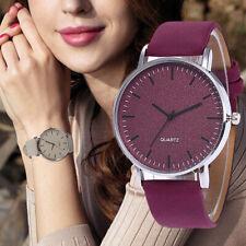 Fashion Leather Ladies Women Girl Unisex Stainless Steel Quartz Wrist Watch NEW