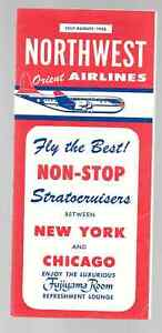 ***1956 Northwest Orient Airlines System Timetable - July - August, 1956***