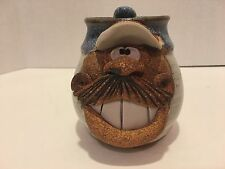 Funny Face Pottery Mug Big Mustache and Big Teeth - Signed - Great Gift for DAD