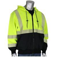 PIP Class 3 Reflective AR/FR Black Bottom Safety Sweatshirt, Yellow/Lime