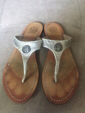 Tory Burch Cameron Thong Logo Brown/Silver Leather Sandals Size 7M