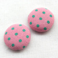 100/500pcs Polka Dot Flatback Fabric Covered Button Scrapbooking Craft T0892