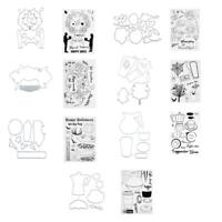 2pc DIY Silicone Transparent Seals Clear Stamps+Cutting Die for Album Card Paper