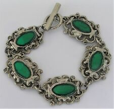 """Green Foiled 7"""" Bracelet 5 Link Toggle Clasp Lucite Silver Tone 35 Grams"""