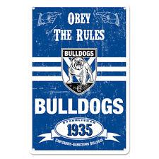 Canterbury-bankstown Bulldogs NRL Official Retro Metal Sign 20cm X 30cm