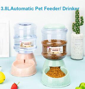 Automatic 3.8L Large Pet Food Drink Dispenser Pet Dog Cat Feeder Water Bowl Dish