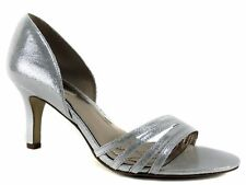 Alfani Women's Giorjah Evening Pumps Silver Dress Strappy Shoes Size 8 M