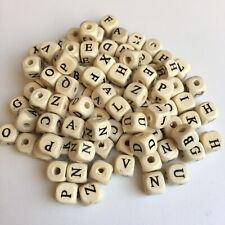 104X Wood Alphabet Bead 10mm Cube Beige ABC Letter Wooden Name Jewellery Beads