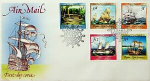 PAPUA NEW GUINEA 1987 SAILING SHIPS 5v USED ON AIRMAIL ILLUSTRATED FDC