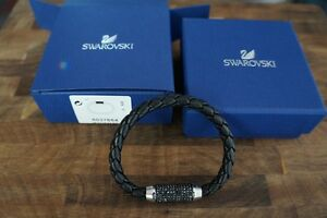 Swarovski Aim Bracelet Black Calfskin Men's Unisex Authentic 5037654