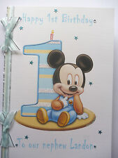 Personalised Hand made A5 Baby(Boy) Mickey Mouse 1st Birthday card