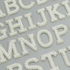 White Pearl Silver Rhinestone Sparkle Letter Patches Alphabet Embroidery Clothes