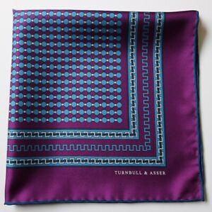 Turnbull & Asser Silk pocket square handkerchief in purple & blue