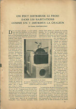 Article Scientifique science CLIMATISATION climatiseur froid 1923