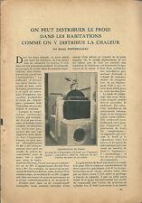 Article Scientifique science CLIMATISATION climatiseur froid 1923