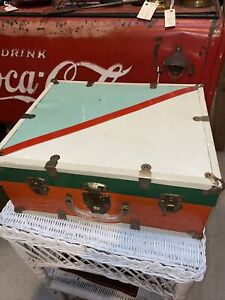 Vintage Roller Skate Carrying Case, Wood, Metal, Box  Red, White, & Blue