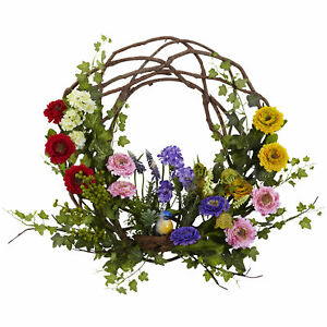 """Spring Floral Wreath Realistic Artificial Nearly Natural 22"""" Home Decoration"""