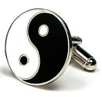 Ying Yang Black White Cufflinks + Free Box & Cleaner