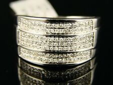 10K MENS WHITE GOLD 12 MM WEDDING BAND PINKY DIAMOND RING .65 CT