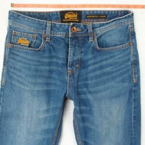Mens SuperDry COPPERFILL LOOSE Relaxed Straight Blue Jeans W32 L34