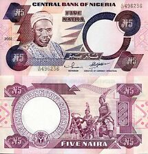 NIGERIA 5 Naira Banknote World Paper Money UNC Currency Pick p-24g Bill Note