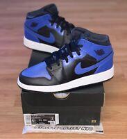 New Nike Air Jordan Retro 1 Mid Black Hyper Royal Kids Size 5-7 Shoes 554725-077