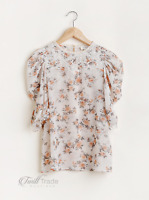 Umgee | Natural Mix Sheer Floral Print Puff Sleeve Lace Yoke Top with Keyhole