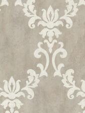 Renna Grey Large Scroll Damask Wallpaper by Kenneth James