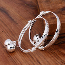 925 Silver Filled Bell Engraved Bangle Adjustable Cuff Kids Bracelet Jewelry