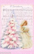 Fabric Block Chic Shabby Pink Christmas Tree  Vintage Postcard O Tannebaum