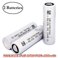 2x Molicel INR 21700 P42A 45A 4200mAh Rechargeable High Drain Flat Top Battery