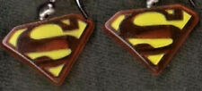 Funky SUPERMAN LOGO EARRINGS-Super Hero Comics Character Charm Costume Jewelry