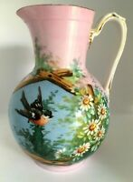 Antique Victorian Bristol Hand Painted Pitcher Brid Flowers Pink Blue