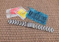 Gunmetal Steel Solid Link Watch Strap 20,22mm Curved , Straight Ends by Geckota