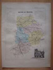 CARTE départementale SEINE ET MARNE vers 1880 Melun Coulommiers Meaux Provins