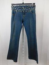 Max Studio Denim, Studded Waist Low-Rise Boot-Cut Jeans Size 12 Dark Wash #2216