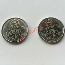 New 100pcs per Bag Arcade Gaming Coin Tokens 25*1.85mm Stainless Steel-Ms. White