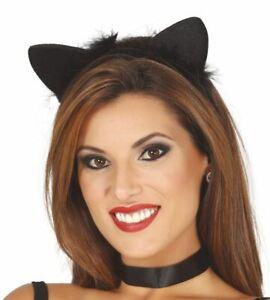 Womens Black Cat Ears Tiara Headband Halloween Ladies Fancy Dress Accessory
