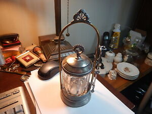 Old silver plate pickle castor with jar and tongs cut leaves old estate