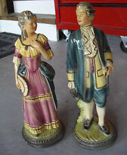 """Unique Vintage Set of Plaster Man and Woman Colonial Dress Statues  16 1/2"""" Tall"""
