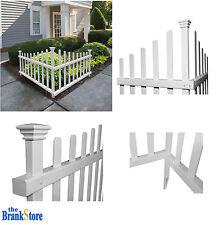 Vinyl Picket Fence Outdoor Corner Decorative White Garden Accent Driveway Decor