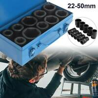 "10X 1"" Inch DRIVE DEEP IMPACT Socket Set 22-50mm HGV Long Reach Impact Sockets"