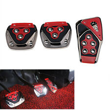 Universal 3X Car Manual Gear Brake Gas Clutch Non-Slip FootPedal Pad Covers Red